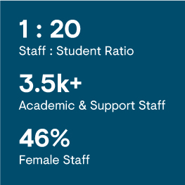 1:20 Staff : Student Ratio, 3500+ Academic and Support Staff, 46% Female Staff