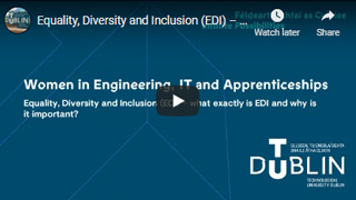 Image for Equality, Diversity and Inclusion (EDI) - what exactly is EDI and why is it important?  Keith Greville, Arup, Maebh Larkin, Eaton Intelligent Power, Riana Roche, Mastercard and Ann Sylvester, Amazon